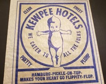 Vintage Kewpee Hotel Hamburger Wrapper