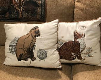 Pair of Handmade VINTAGE Cat Pillows