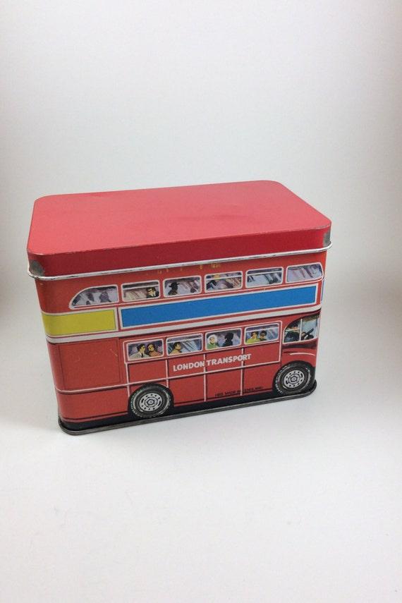 Vintage tins, vintage London transport double decker bus, hinged tin, vintage London tin, tin collectors, vintage collectors, biscuit tin
