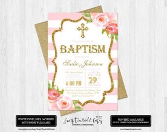 Pink Stripe Girls Baptism Invitation Floral Rose and Gold Glitter Christening Baby Dedication Digital File or Printed Invitatiosn