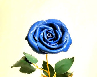 3rd Anniversary Gift -Blue leather rose- Pink rose- Leather Rose, Wedding , Long Stem Flower, Valentines Day