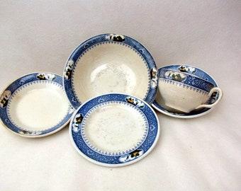 Antique 1920s Milton's | Bone China Dishware | England | Sailboat | Blue Border | House by the Sea