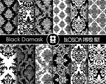 Black White Damask Digital Paper - Damask Digital Scrapbooking Paper Pack, Textures, Damask - INSTANT DOWNLOAD - 1904