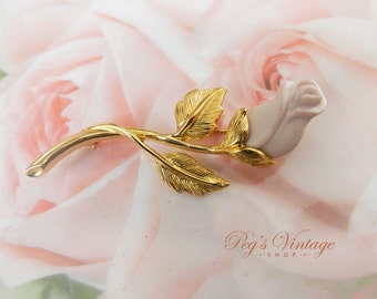 Vintage Pastel Pink Porcelain Rosebud Pin, Gold Tone Flower Brooch, Avon Jewelry