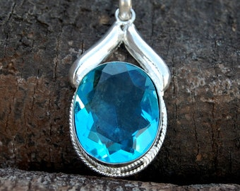 Blue Topaz Pendant, Oval Faceted Blue Topaz Gemstone sterling silver Pendant, Topaz Handmade Gift Jewelry