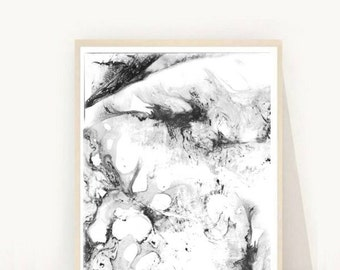 Abstract Art Print, Printable Art, Minimalist Print, Scandinavian Art, Wall Decor, Wall Art, Instant Download, Black And White Art