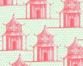 Asian Fabric, Garden Pagoda from Menagerie by Michael Miller DC6510 Pink/Green -Remnant 27-Inch