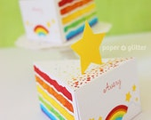 Rainbow Paper Cake Slice favor baking party box printables - Editable Text Printable PDF 1051