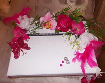 urne mariage fuschia  papillon ou colombes urn wedding piggy bank