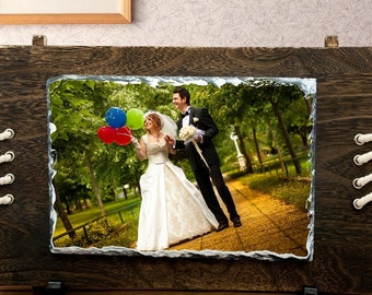 Anniversary gift, personalised gift, birthday gift, wedding gift home decor. Photo Rock Slate custom printed. photo frame
