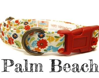 "Vintage Inspired Cream Multicolor Floral Dog Collar - Organic Cotton - Antique Metal Hardware - ""Palm Beach"""