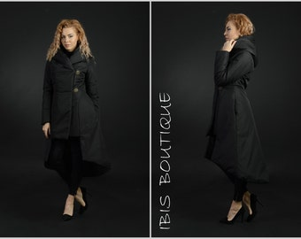 Extravagant winter woman maxi jacket, plus / large sizes, black long coat, warm water resistant jacket, large hood, gift for her, asymmetric