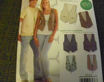Sewing Pattern - Simplicity New Look 6036 - Misses', Men's Vests With Trim Variations - Size A 6 - 16, XS - XL