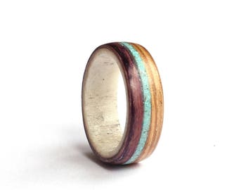 Antler Mens Ring, Wood Wedding Band, Turquoise and Purple Wood Ring