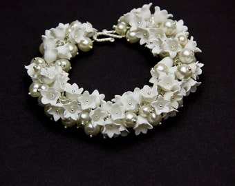 Flower Bracelet Lily of the valley Floral Bracelet Flower jewelry White bracelet Wedding bracelet Wedding jewelry Bride bracelet