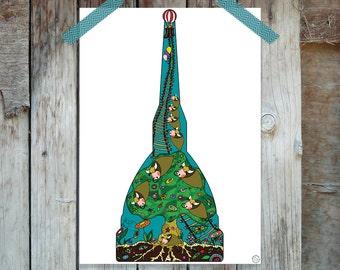 Illustrazione folk digitale con paesaggio bucolico dentro la sagoma della Mole Antonelliana– Instant Download