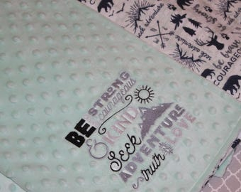 Minky baby Blanket, Be Brave, Personalized baby blanket, Adventure