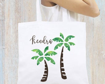 Personalized Tote Bag, Beach Tote, Palm Trees Tote Bag Monogrammed Tote Bag Personalized Gift Bridesmaid Gift Beach Bag Personalized Gift