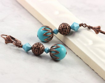 Turquoise Earrings December Birthstone Gemstone and Copper Southwest Mediterranean Style Rustic Boho Jewelry Gift for Her Under 25