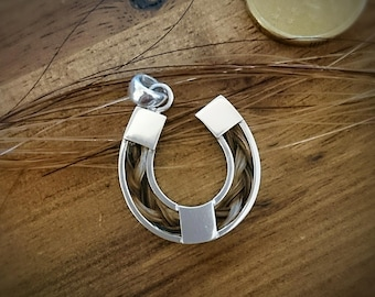 Sterling Silver Horse Shoe + Braided Horse Hair Pendant