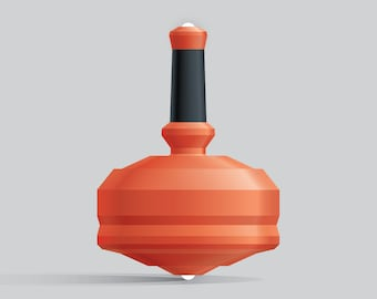 Leap 25G-2 Orange spin top with dual ceramic tip and integrated rubber grip