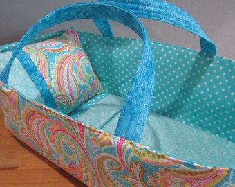 Doll Carrier, Will Fit Bitty Baby and Wellie Wisher Dolls, Paisley with Aqua Lining, 16 Inches Long, Doll Basket