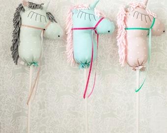 Hobby horse, stick horse, unicorn hobby horse, unicorn horse, horse toy, stick pony, toy horse, unicorn stick horse, stuffed unicorn horse