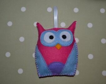 Cute handmade felt pink / blue owl