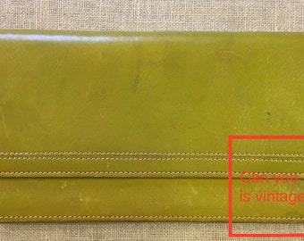 Vintage Tusk leather slim wallet olive or moss green with scarlet interior