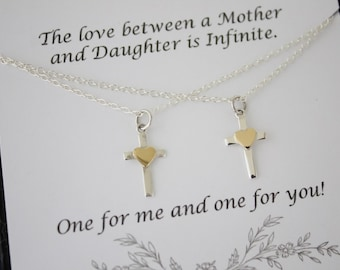 Mother and Daugther Cross Necklace Gift Set, 2 Cross Heart Necklaces, Set of two, Sterling Silver and Gold, First Communion, Sister Gift