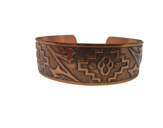 Solid Copper Bracelet  -  tribal Boho -  etched  -Cuff Bangle - southwestern