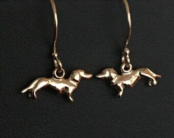 Tiny Gold Dachshund Earrings