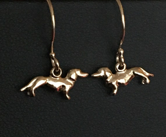 Tiny Gold Dachshund Earrings