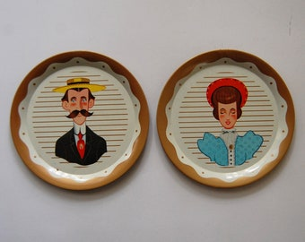 Vintage Tin Plates Wall Decor, Victorian Ma and Pa Illustrated Plates