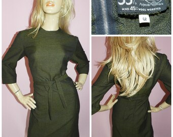 Vintage 50s 60s Moss Green HOURGLASS MOD SECRETARY dress 12-14 M Pin Up Wiggle 1950s 1960s Modette Evening