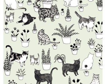Cats and Plants Print