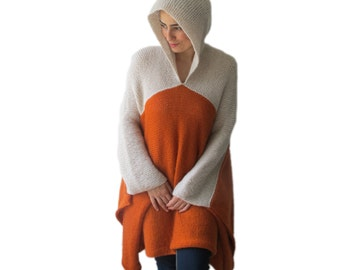 Plus Size Over Size Mohair Poncho - Pelerine with Hood Orange - Beige