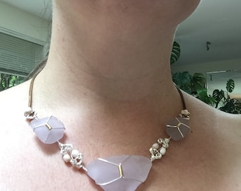 Lavender UV seaglass bib necklace