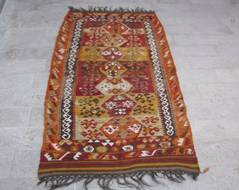 COLLECTABLE TURKISH KILIM-Very Special Vintage Kilim-Collectable Rug-Tribal Kilim-Tribal Kelim-Taurus Mountains Kilim-Turkish Kilim-Kelim