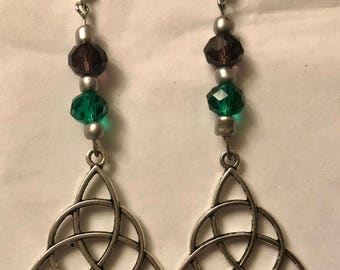 Celtic Knot Earrings, Green