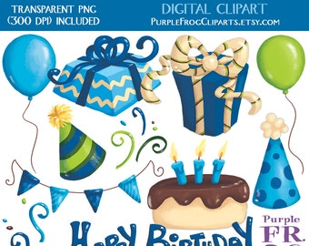 BIRTHDAY BOY - Digital Clipart, Clip art. 11 images, 300 dpi. jpeg, png files. Instant download.