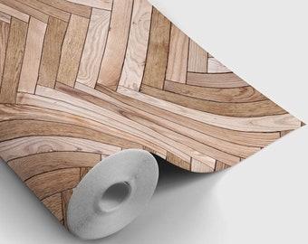 Chevron Wood Peel and Stick Wallpaper | Peel and Stick Temporary Wallpaper | Removable Wall Sticker