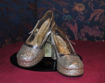 Glitter silver-1970 - T:37 platform shoes
