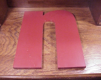 Older Red Small Case Letter n, 14 1/4 Inches Tall Plastic Wall Hanging Store Sign, Home Wall Decor