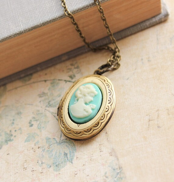 Oval locket necklace aqua blue cameo locket pendant gold brass aloadofball Images