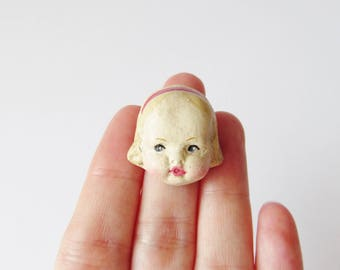 Antique Doll Brooch Edith - Handmade Pin