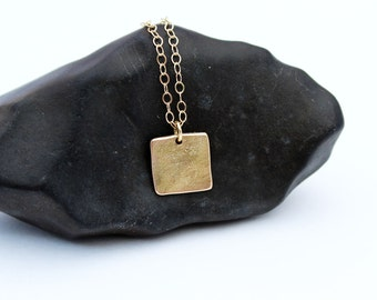 14k Solid Gold Square Pendant Necklace. Hammered Gold Square Pendant.  14k Gold Square Necklace. Handmade, Unique, Rustic, Gold Jewelry