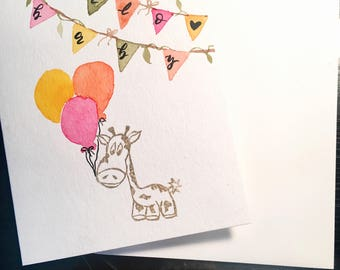 Watercolor Hello Baby Giraffe Baby Shower Congratulations Greeting Card