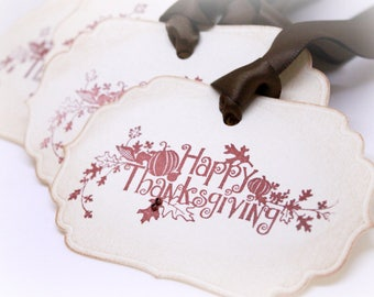 Vintage Inspired Happy Thanksgiving Gift Tags (Double Layered) - Fall Leaves - Napkin Rings - Place Setting - Thanksgiving Decor (Set of 8)