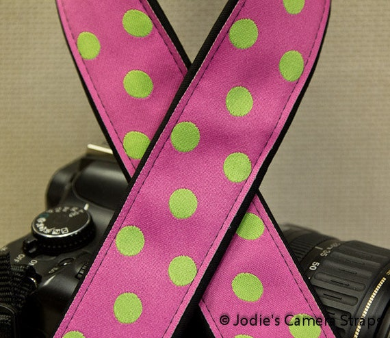 Camera Strap 2 in Wide Custom Padded Dots Green on Pink DSLR SLR